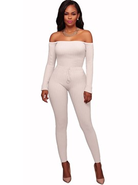 Ericdress Slash Neck Skinny Women's Plain Jumpsuit