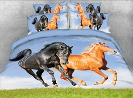 Vivilinen Running Horses Printed 3D 4-Piece Bedding Sets/Duvet Covers