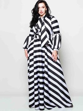 Ericdress Bow Collar Long Sleeve Plus Stripe Plus Maxi Dress
