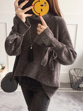 Ericdress Turtleneck Plain Lace-Up Sweater