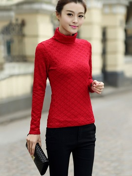 Ericdress Turtleneck Slim Solid Color T-shirt