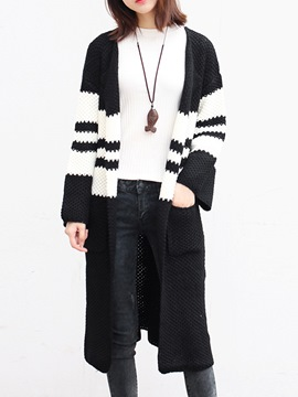 Ericdress Stripe Long Cardigan Sweater