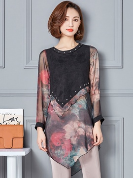 Ericdress Patchwork Floral Print Mid-Length Blouse