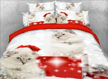 Vivilinen 3D Persian Cat with Christmas Hat Printed 4-Piece Bedding Sets/Duvet Covers