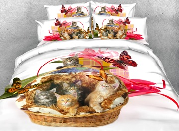 Vivilinen Kittens and Butterfly Printed 4-Piece White 3D Bedding Sets/Duvet Covers