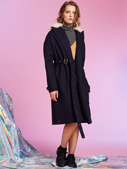 Ericdress Straight Lapel Button Patchwork Women's Overcoat