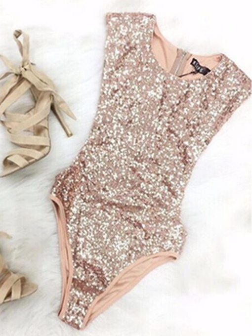Ericdress Chic Sequins Bling Bling Zipper One Piece Bathing Monokini