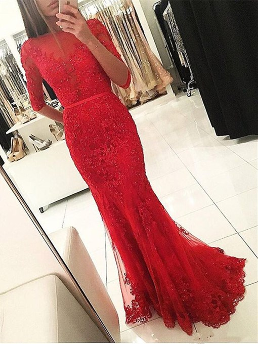 Ericdress Half Sleeve Lace Beaded Mermaid Red Evening Dress
