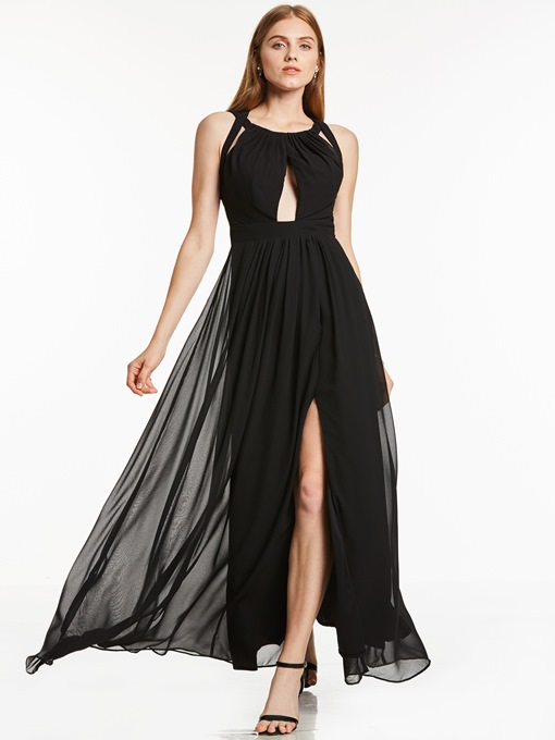 Ericdress Sexy A Line Halter Slit Side Open Back Chiffon Evening Dress