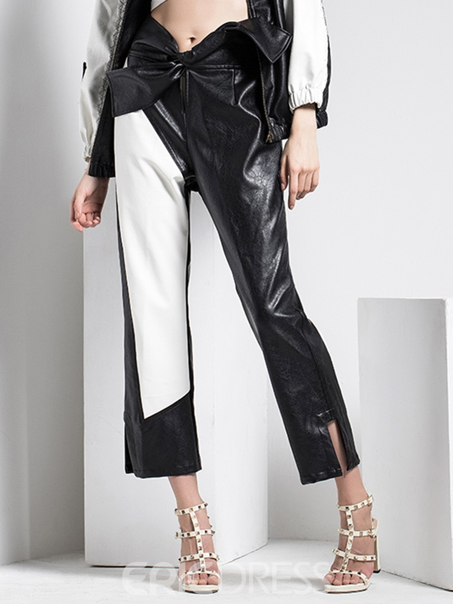 Ericdress Slim Color Block Womens Pants