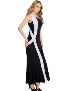 Ericdress Oblique Collar Color Block Mermaid Maxi Dress