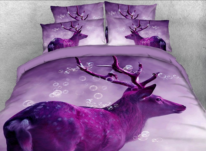 Vivilinen 3D Dreamy Bubbles and Elk Printed 4-Piece Bedding Sets/Duvet Covers