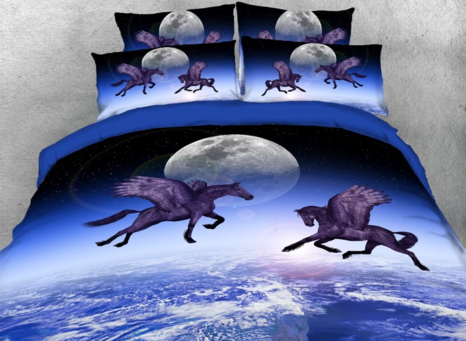 Vivilinen Flying Horse and the Moon Printed 4-Piece Bedding Sets/Duvet Covers