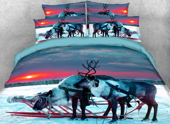 Vivilinen 3D Reindeer in the Setting Sun Printed 4-Piece Bedding Sets/Duvet Covers