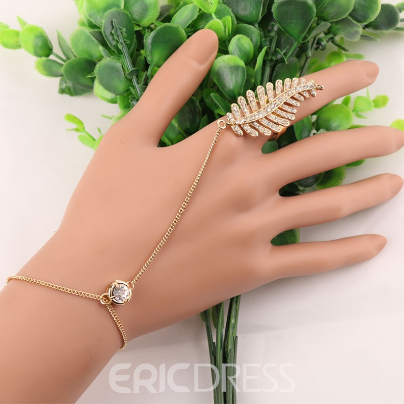 Ericdress Charming Leaf Diamante Womens Fashion Bracelet