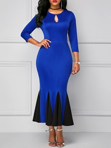 Ericdress Color Block Hollow Pleated Mermaid Dress