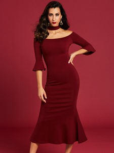 Ericdress Stand Collar Flare Sleeve Bodycon Dress
