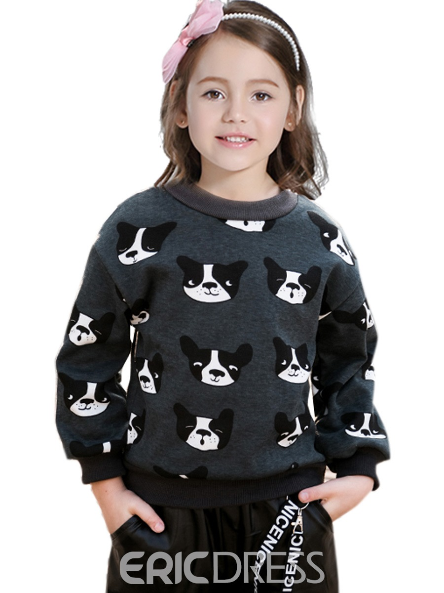 Ericdress Fashion Dog Print Long Sleeve Girls Sweater