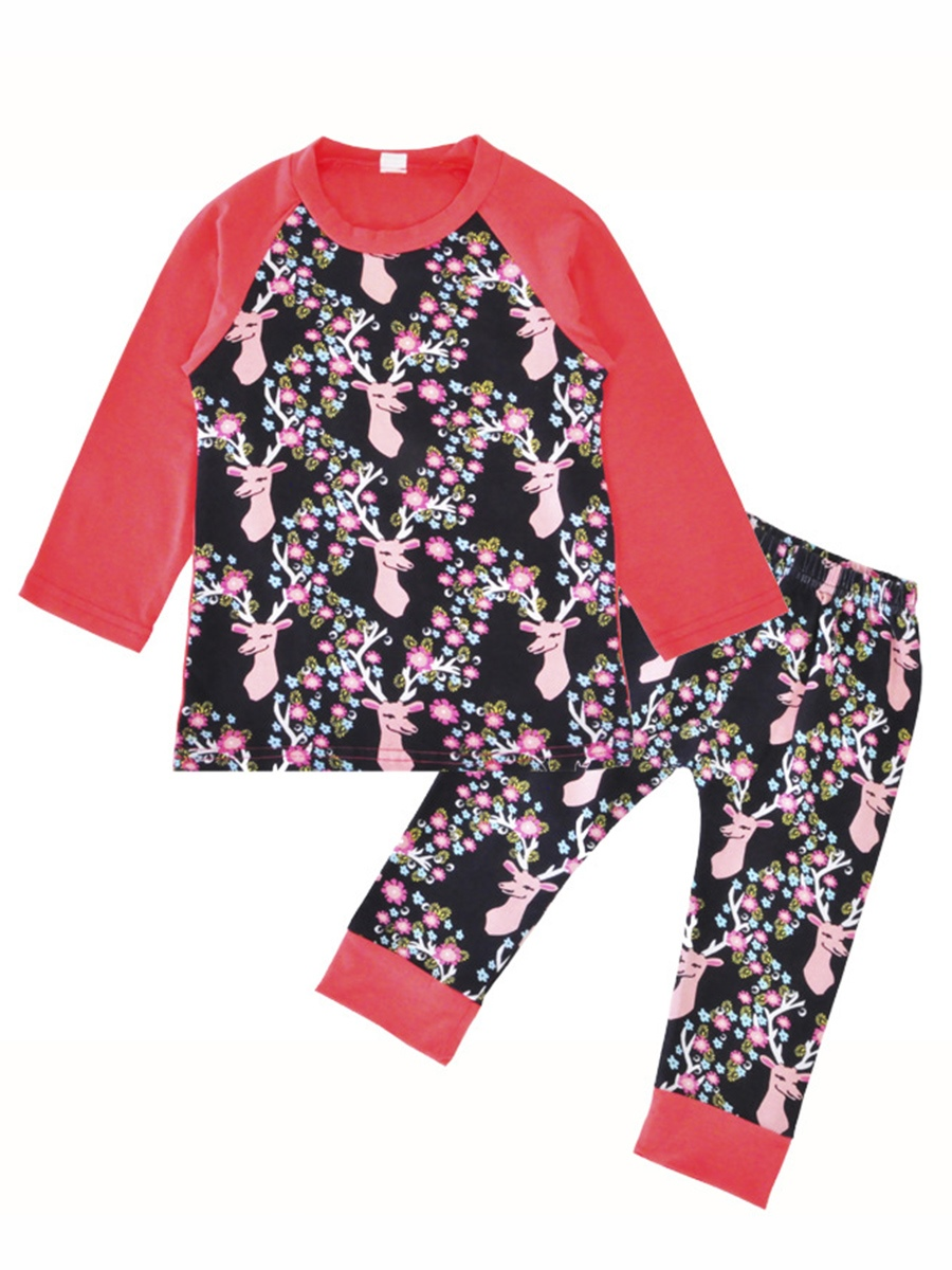 Ericdress Christmas Deer Head & Flower Print Baby Girl's 2-Pcs Outfit