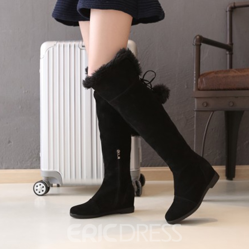 Ericdress Fuzzy Pompon Plain Women's Knee High Boots