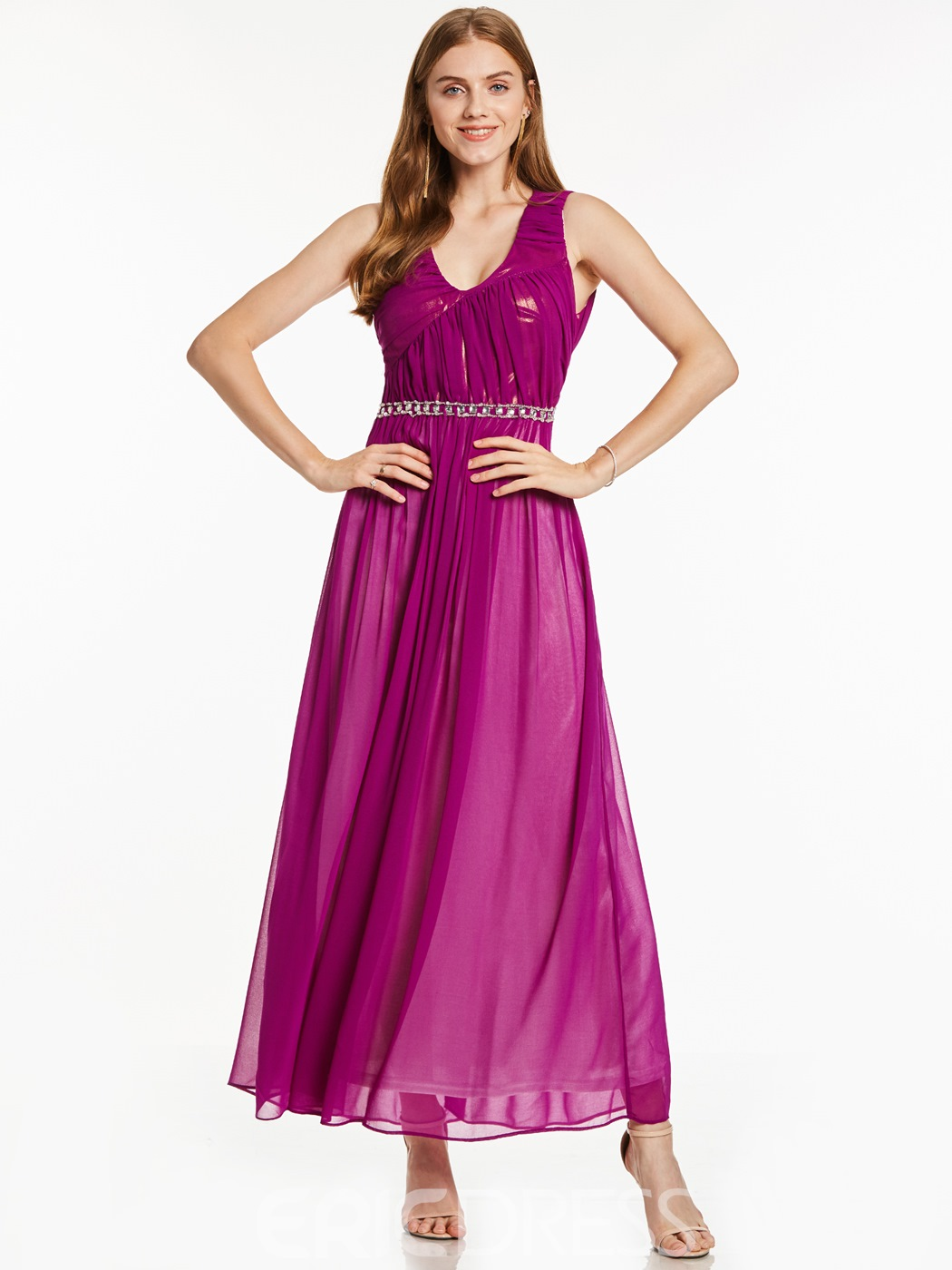 Ericdress A-Line V-Neck Beading Hollow Ankle-Length Evening Dress