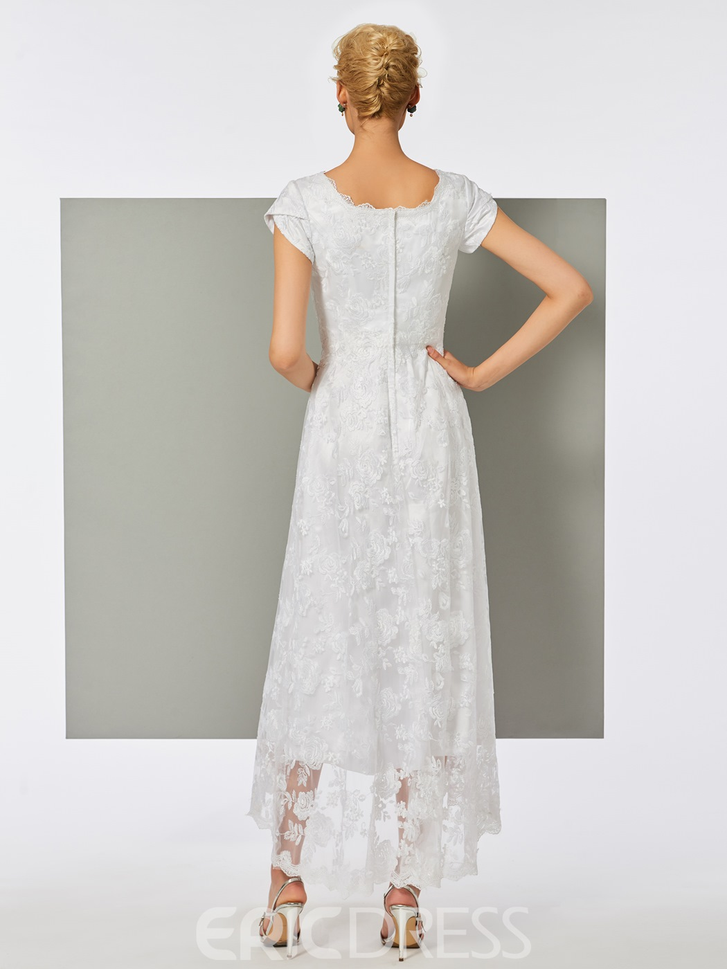 Ericdress A Line Cap Sleeve Lace Tea Length Evening Dress