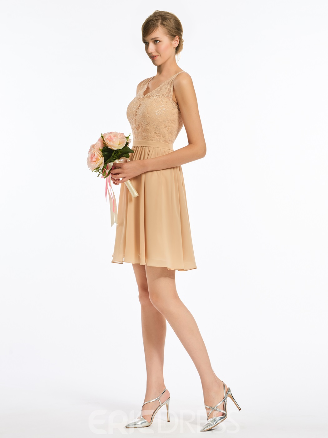 Ericdress V Neck Lace Short Chiffon Bridesmaid Dress
