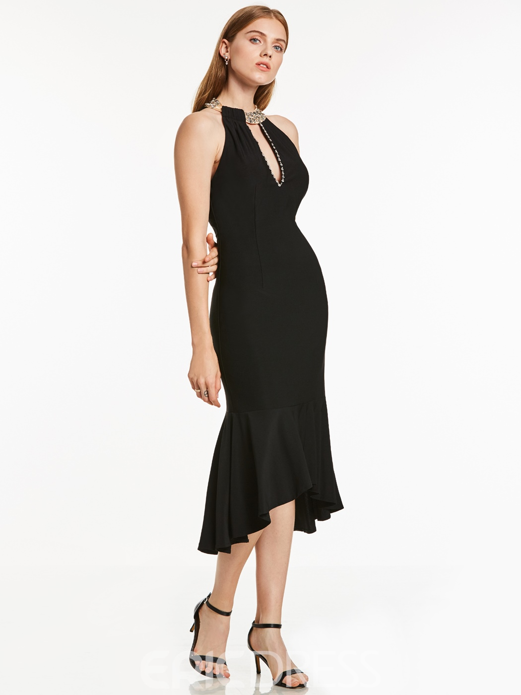 Ericdress Halter Neck Backless Mermaid Cocktail Dress