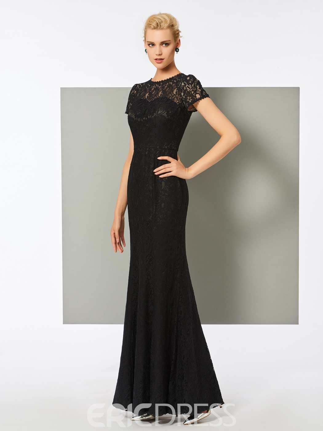 Ericdress Cap Sleeve Floor Length Lace Evening Dress