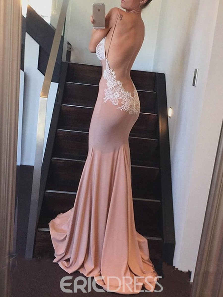 Ericdress Deep V Neck Applique Backless Mermaid Evening Dress