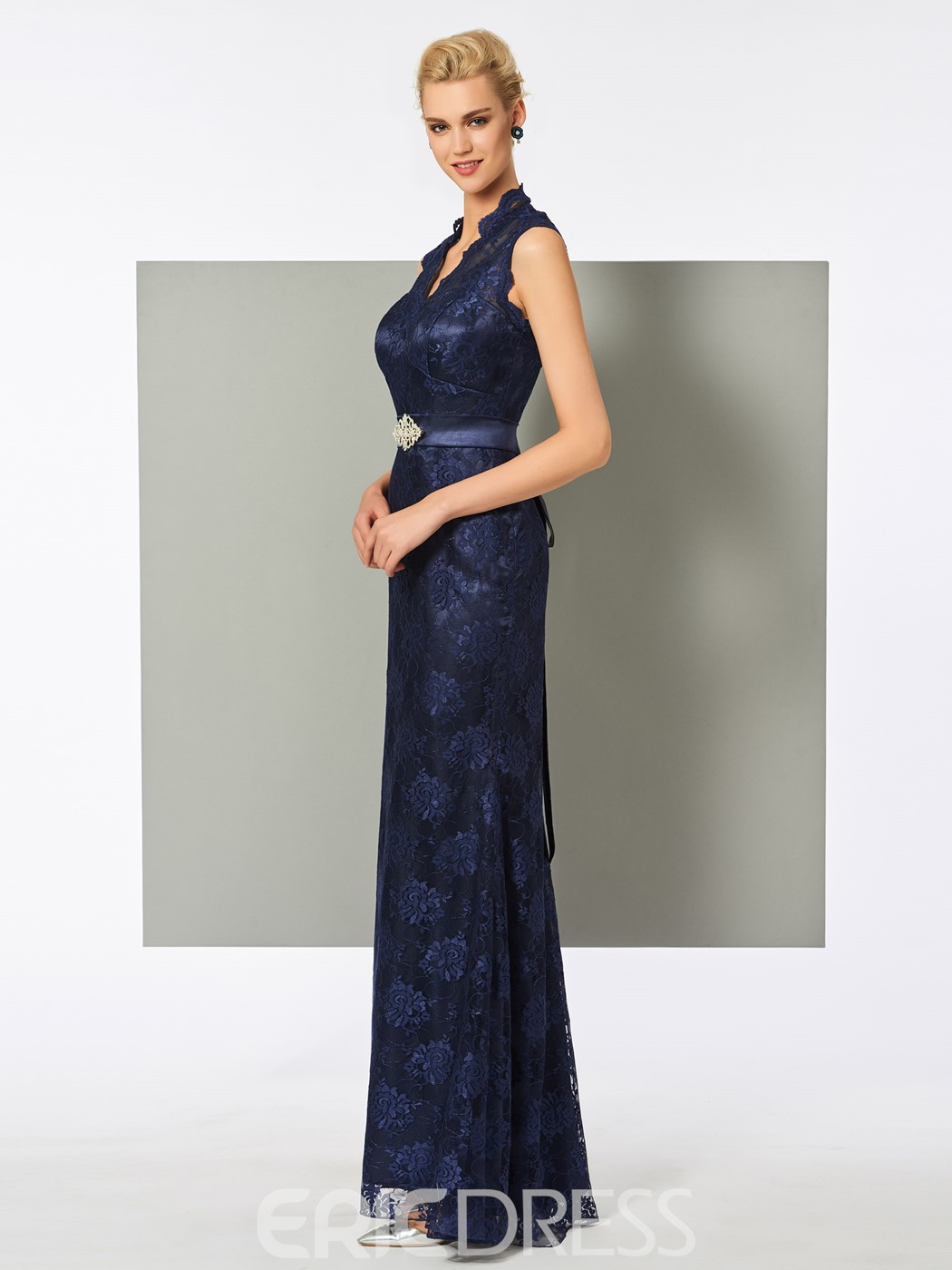 Ericdress V Neck Sleeveless Floor Length Lace Evening Dress