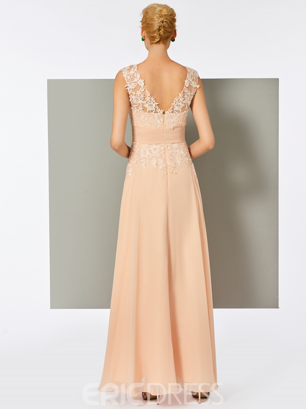 Ericdress A-Line V-Neck Lace Pleats Floor-Length Evening Dress