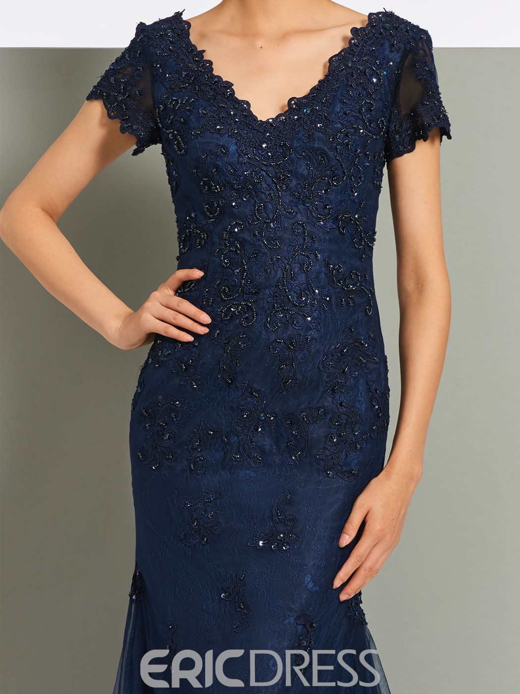Ericdress V-Neck Lace Short Sleeves Mermaid Evening Dress