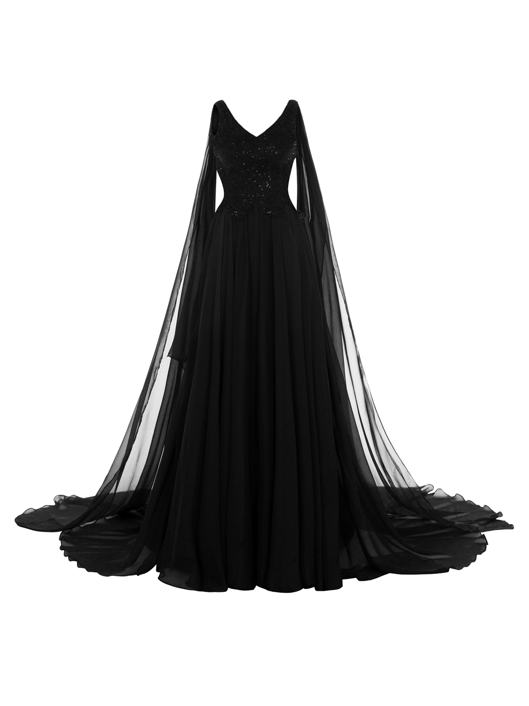 Ericdress V Neck Zipper-Up Lace Appliques Long Evening Dress
