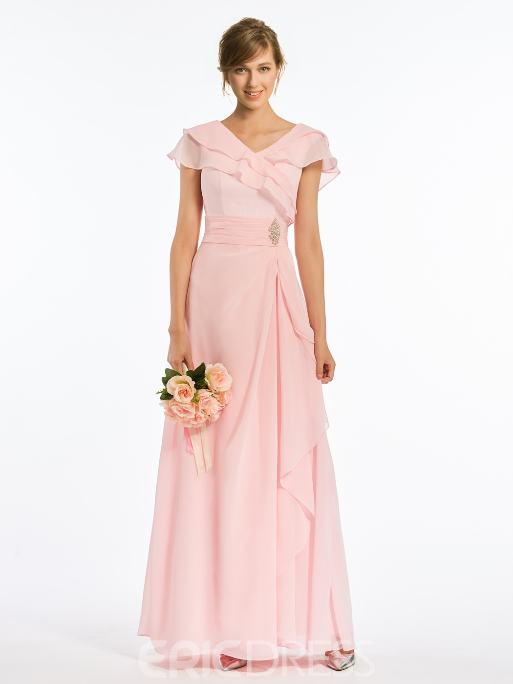 Ericdress V Neck A Line Cap Sleeves Chiffon Long Bridesmaid Dress