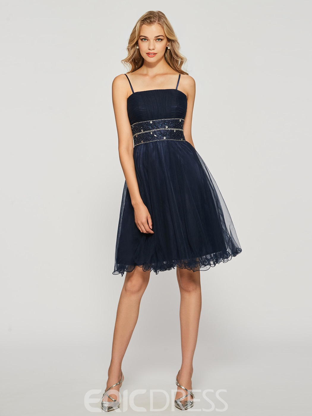 Ericdress Spaghetti Straps Beading Knee-Length Cocktail Dress