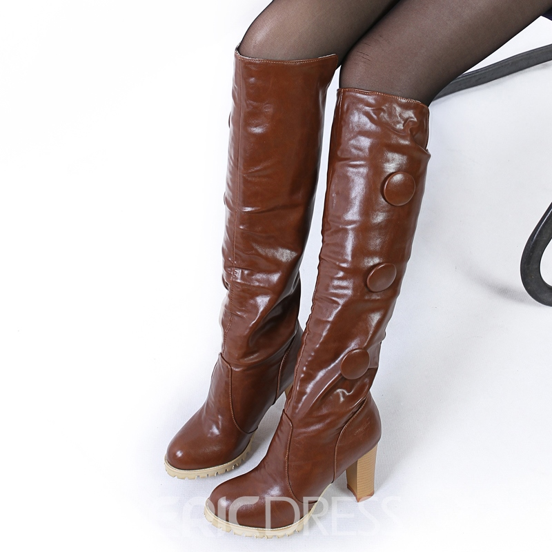 Ericdress Button Plain Slip-On Women's Knee High Boots