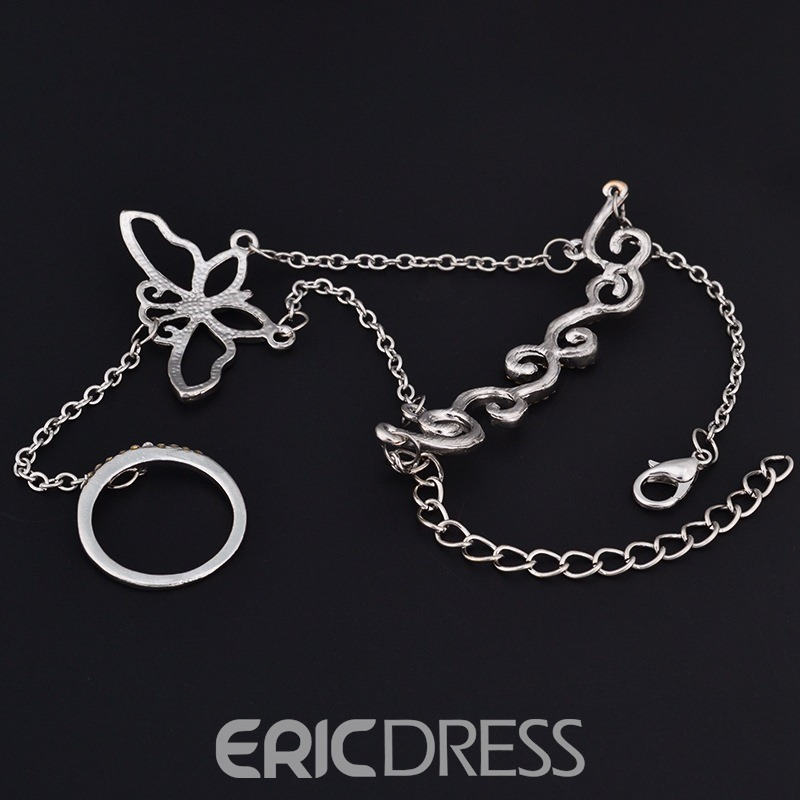 Ericdress Personal Rhinestone Butterfly Women's Ring
