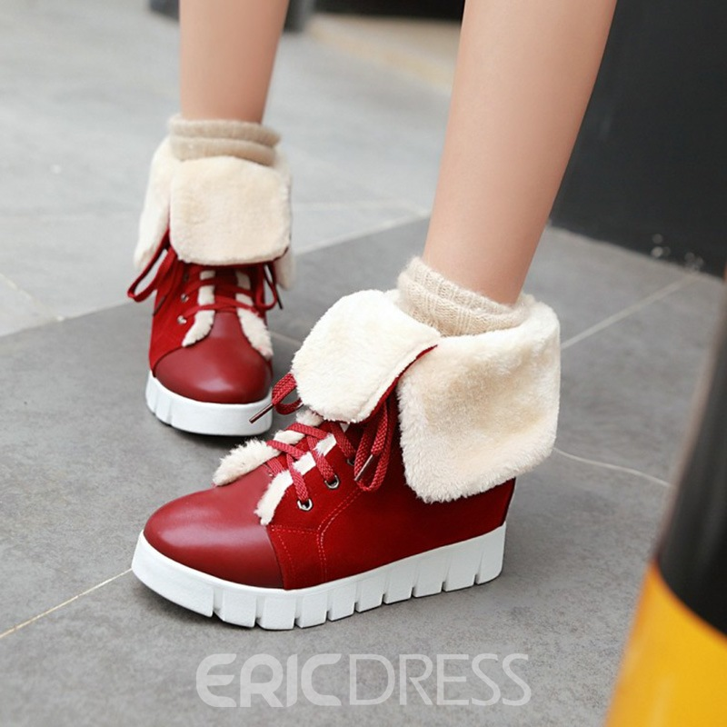 Ericdress Fuzzy Lace-Up Plain Women's Snow Boots