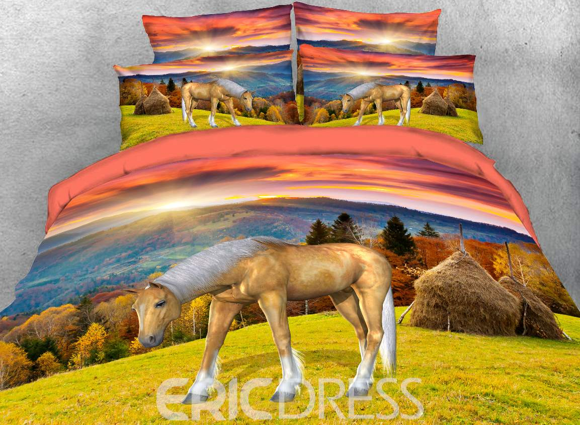Vivilinen 3D Horse in Autumn Grassland Printed 4-Piece Bedding Sets/Duvet Covers