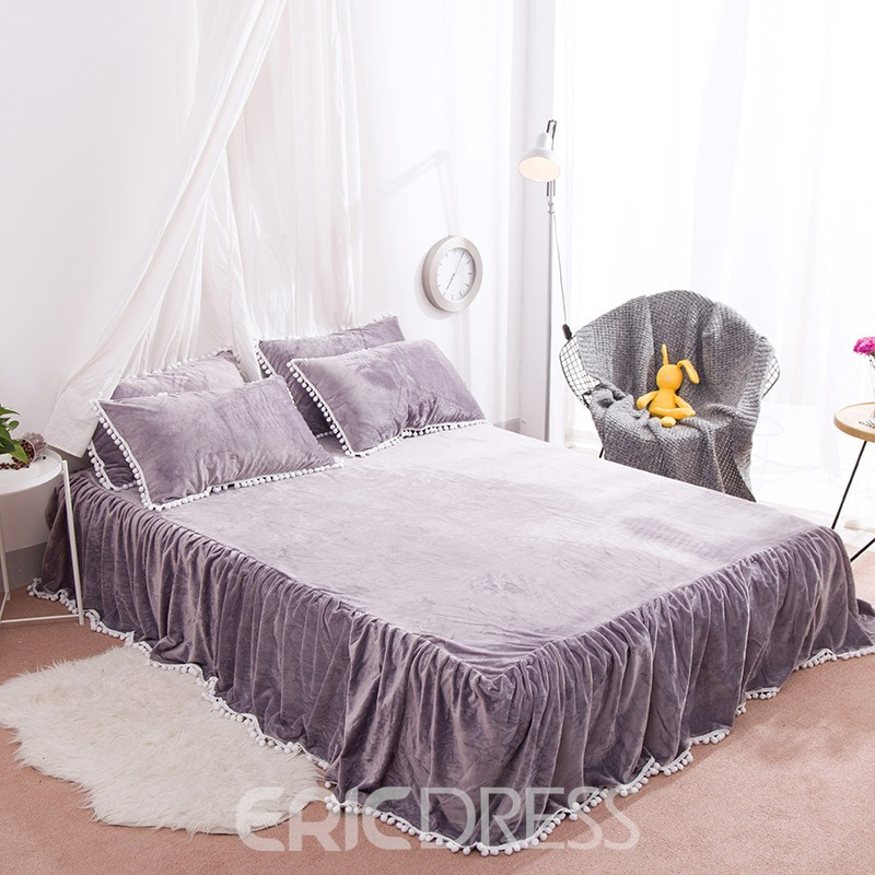 Vivilinen Solid Purple with Decorative Fuzzy Ball Faux Rabbit Fur Fluffy 4-Piece Fluffy Bedding Sets