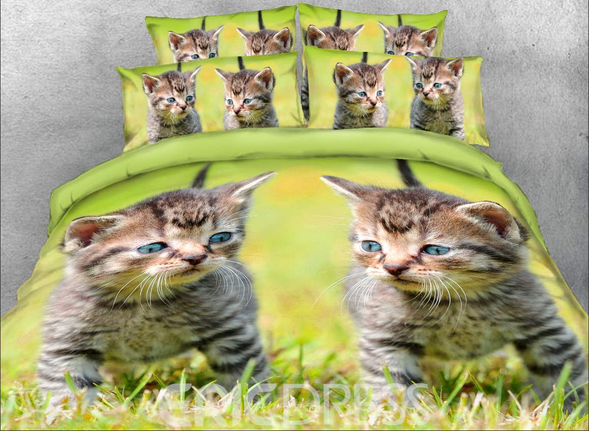 Vivilinen 3D Kittens on the Grass Printed 4-Piece Bedding Sets/Duvet Covers