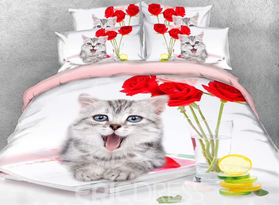 Vivilinen 3D Gray Kitten and Red Roses Printed 4-Piece Bedding Sets/Duvet Covers
