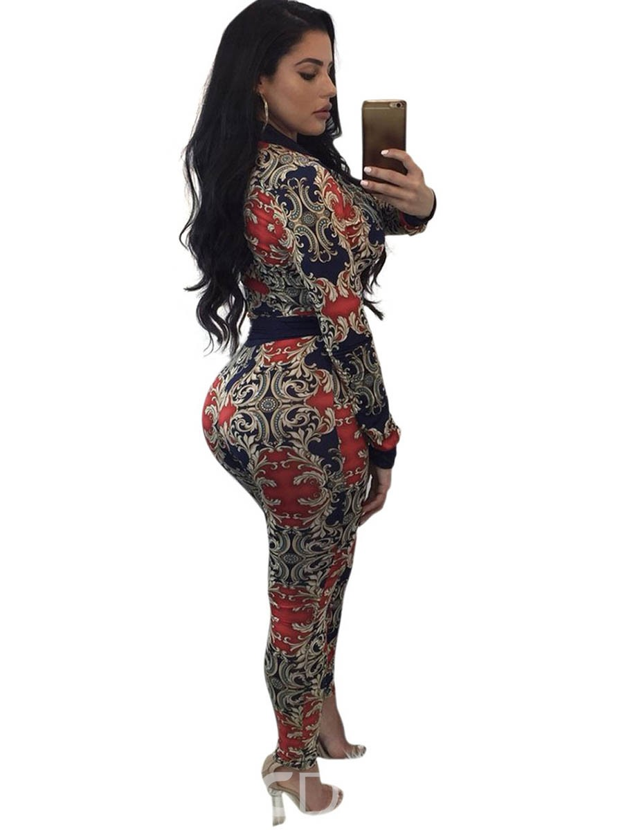 Ericdress Ethnic Style Print Jacket and Pants Women's Two Piece Set