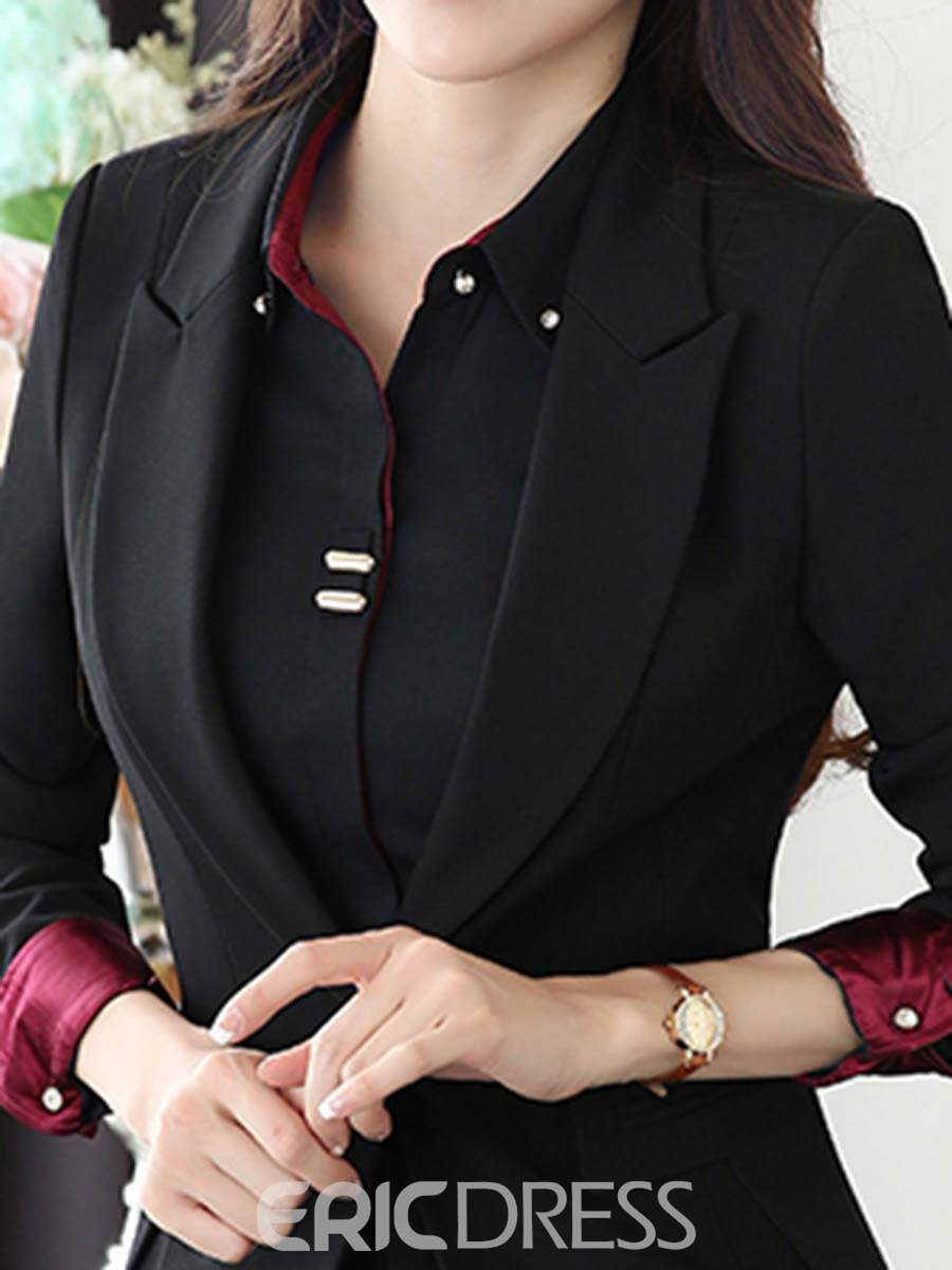 Ericdress Lapel One Button Jacket and Pants Women's Suit