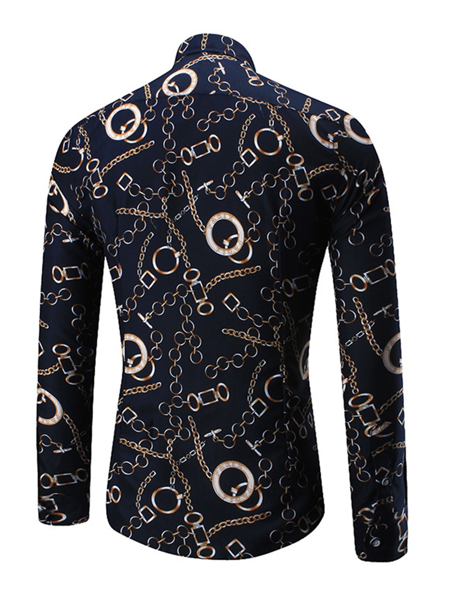 Ericdress Color Block Chain Print Long Sleeve Slim Fit Men's Shirt