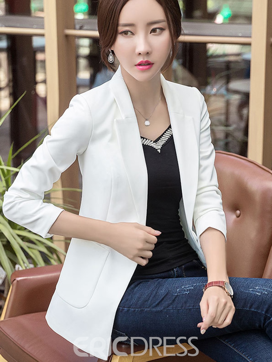 Ericdress Plain Slim Pocket One Button Blazer
