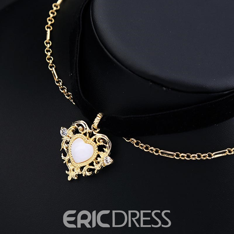 Ericdress Retro Style Heart Pendant Double Layer Choker