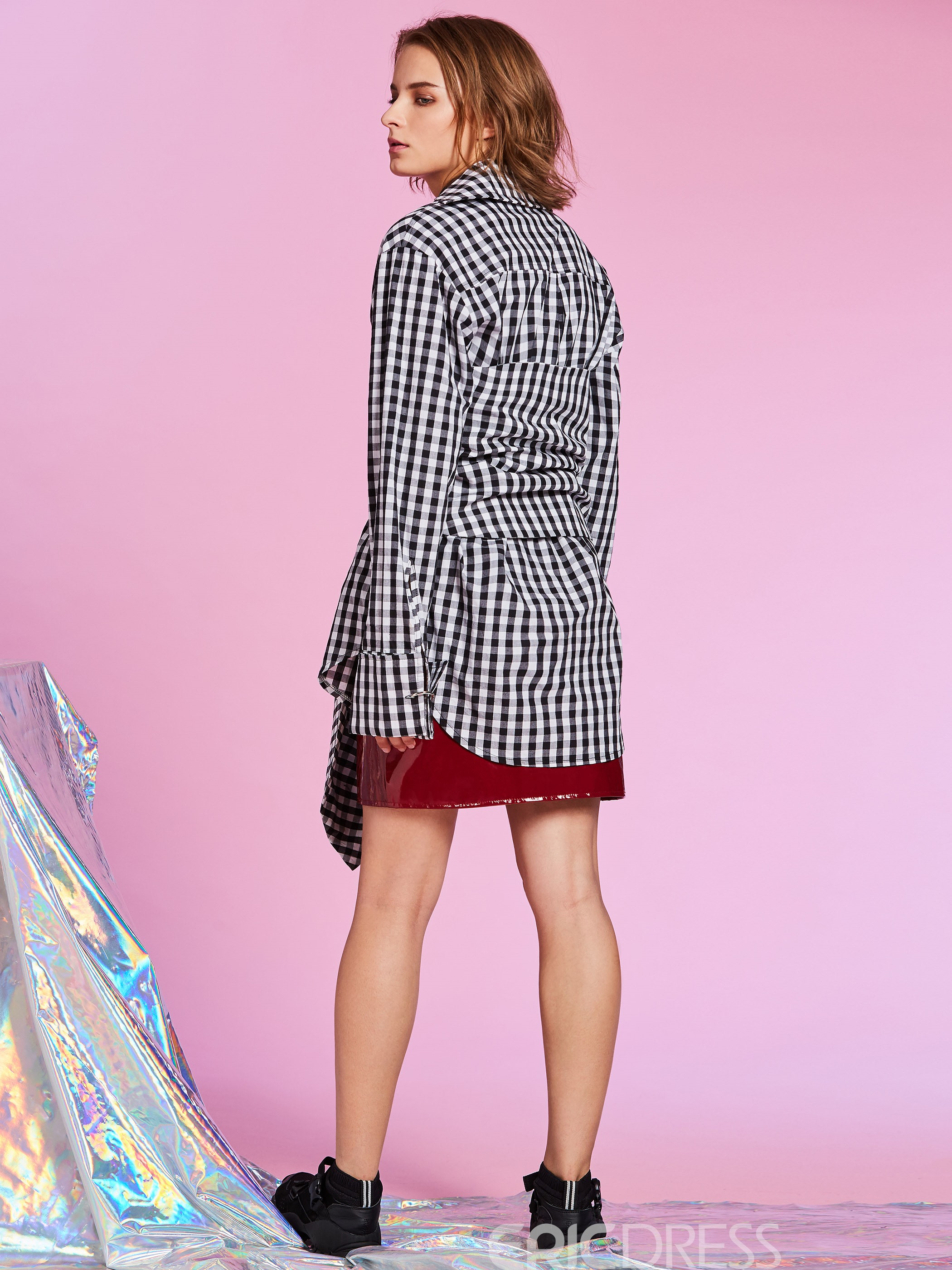 Ericdress Color Block Plaid Mid-Length Women's Shirt