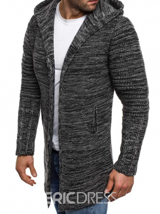 Ericdress Hooded Mid-Length Straight Men's Cardigan Sweater